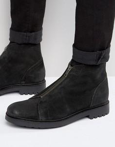 Черные замшевые ботинки на молнии спереди ASOS - Черный