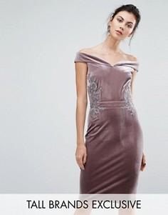 Бархатное платье-футляр с цветочной кружевной аппликацией Little Mistress Tall - Фиолетовый