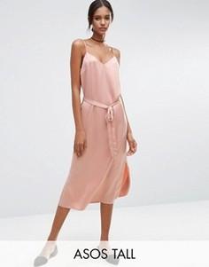 Атласное платье-комбинация миди с поясом ASOS TALL - Розовый
