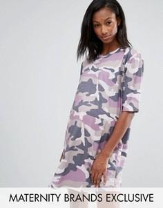 Платье-футболка для беременных с камуфляжным принтом Missguided Maternity - Фиолетовый