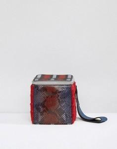 Клатч в форме куба с принтом под кожу змеи House Of Holland - Мульти