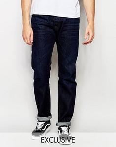 Темные выбеленные классические джинсы слим Diesel Buster 823K - Синий