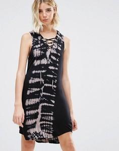Платье мини с принтом тай-дай и завязкой спереди NYTT Devorah - Мульти