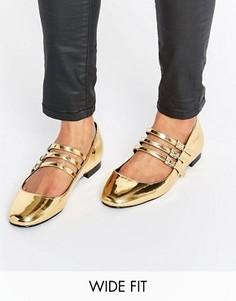 Балетки для широкой стопы с квадратным носком ASOS LEE - Золотой