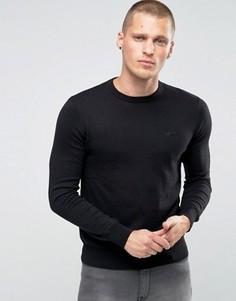 Черный джемпер с круглым вырезом и логотипом Armani Jeans - Черный