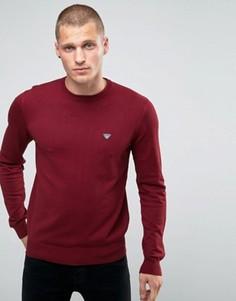 Бордовый джемпер с круглым вырезом и логотипом Armani Jeans - Красный