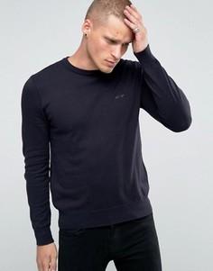 Темно-синий джемпер с круглым вырезом и логотипом Armani Jeans - Темно-синий