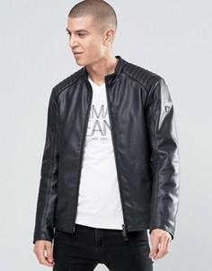 Байкерская куртка из искусственной кожи Armani Jeans - Черный