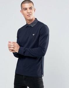 Темно-синее поло с длинными рукавами и воротником из денима Armani Jeans - Темно-синий