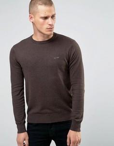 Коричневый джемпер с круглым вырезом и логотипом Armani Jeans - Коричневый