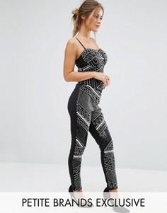 Зауженные брюки-премиум с отделкой спереди Maya Petite - Черный