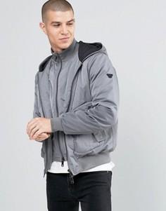 Серая водонепроницаемая куртка с капюшоном и вставкой Armani Jeans - Серый