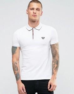 Белая узкая футболка-поло с принтом на воротнике Armani Jeans - Белый