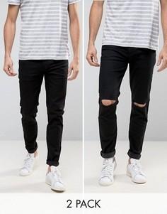 2 пары джинсов (черные и черные рваные) ASOS - СКИДКА - Черный