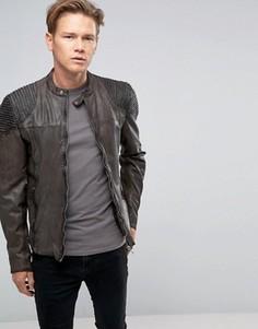 Темно-серая кожаная байкерская куртка с декоративными строчками на плечах Goosecraft - Серый