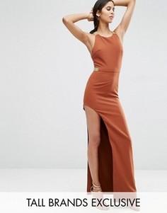 Платье макси с разрезом сбоку и металлической отделкой True Decadence Tall - Коричневый