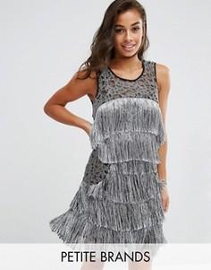 Платье с бахромой Boohoo Petite - Серебряный