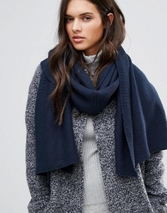 Вязаный шарф в рубчик Vila - Темно-синий