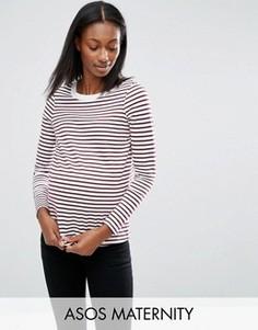 Лонгслив в полоску для беременных с круглым вырезом ASOS Maternity - Красный