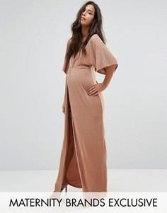 Платье макси для беременных с узелком спереди Missguided Maternity - Рыжий