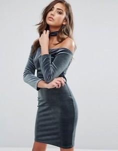 Бархатное платье Miss Selfridge - Зеленый