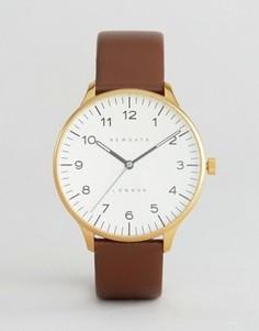 Часы с черным циферблатом и коричневым кожаным ремешком Newgate Blip - Коричневый
