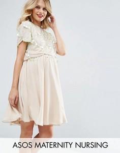 Короткое приталенное платье для беременных и кормящих ASOS Maternity NURSING - Розовый
