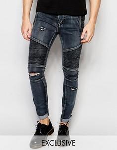 Рваные байкерские джинсы скинни выбеленного черного цвета Liquor & Poker - Черный