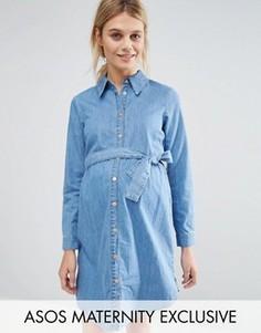 Джинсовое платье-рубашка для беременных с поясом ASOS Maternity - Синий