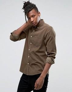 Вельветовая рубашка стандартного кроя цвета хаки ASOS - Зеленый