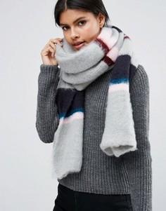 Длинный пушистый шарф в полоску ASOS - Мульти