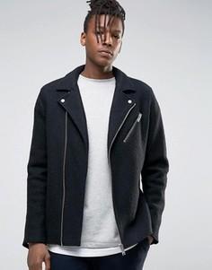 Шерстяная байкерская куртка Selected Homme - Черный