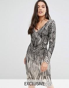 Платье миди с отделкой пайетками Club L - Черный