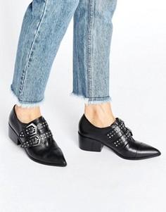 Кожаные туфли на среднем каблуке с заостренным носком Office Fly By - Черный