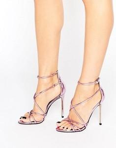 Розовые зеркальные сандалии на каблуке с ремешками Office Spindle - Розовый