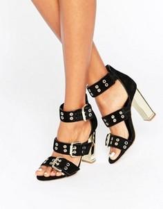 Замшевые сандалии на каблуке с ремешками и люверсами Office Shots - Черный