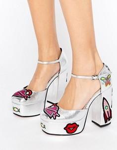Туфли на платформе с нашивками ASOS PICNIC - Серебряный