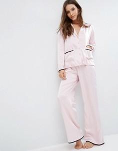Сатиновый пижамный комплект ASOS Christy - Розовый