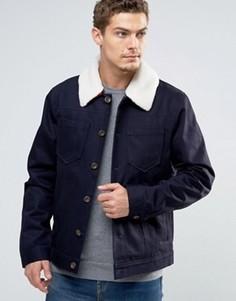 Джинсовая куртка с меховым воротником Esprit - Темно-синий