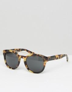 Солнцезащитные очки в круглой черепаховой оправе Dolce & Gabbana - Коричневый