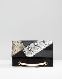 Клатч из искусственной змеиной кожи с металлической ручкой Faith - Мульти