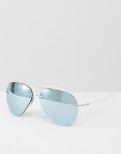 Серебристые солнцезащитные очки-авиаторы без оправы Ray-Ban - Серебряный