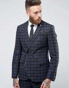 Двубортный пиджак скинни из 100% английской шерсти Noose & Monkey - Серый