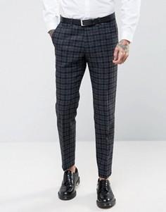 Зауженные брюки из 100% английской шерсти в клетку Noose & Monkey - Серый