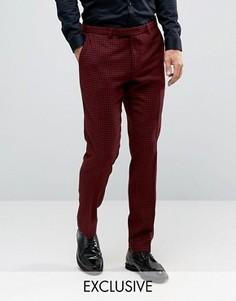 Зауженные брюки с узором гусиная лапка Noose & Monkey - Красный