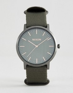 Часы цвета хаки с нейлоновым ремешком Nixon Porter - Зеленый