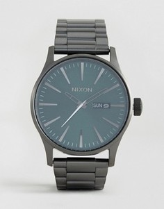 Часы из нержавеющей стали (серебристый/зеленый) Nixon Sentry - Серебряный