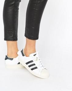 Черно-белые кроссовки с принтом adidas Originals Superstar Unisex - Белый