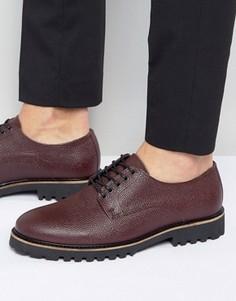 Бордовые кожаные ботинки на шнуровке ASOS - Красный