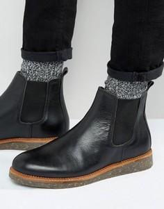 Черные кожаные ботинки челси на пробковой подошве ASOS - Черный